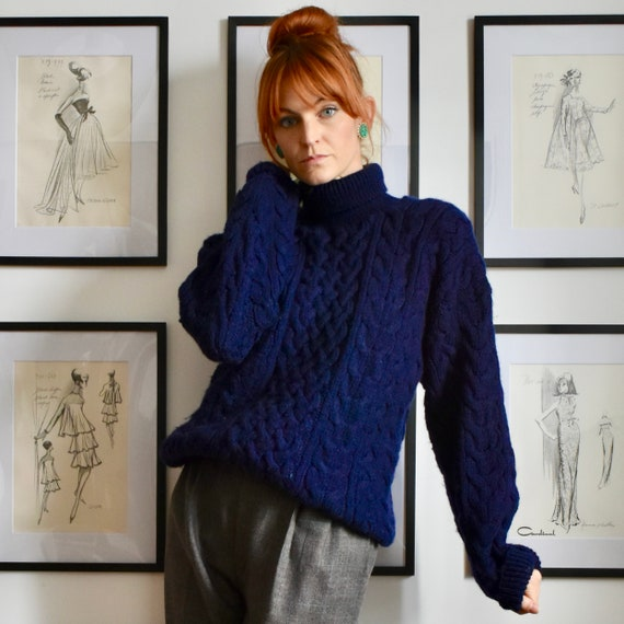 Vintage Navy Blue Cable Knit Sweater