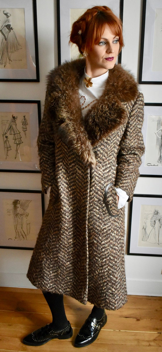 Vintage 1970s Brown ZigZag Coat