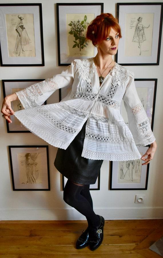 Vintage Victorian White Lace Blouse