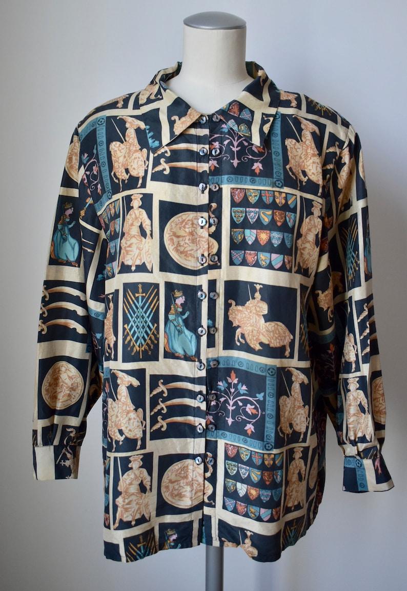 Vintage Silk Italian Medieval Print Blouse
