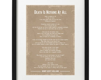 Henry Scott Holland Death is nothing at all poem art print
