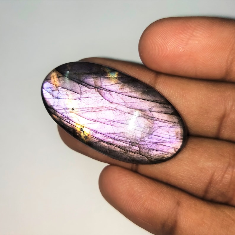 Natural Multi Labradorite Gemstone Cabochon  Rare Quality Making Pendant Labradorite Gemstone Oval Shape  66.6 Cts  Size 42x22x7  P#707