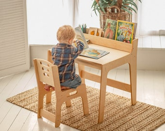 Preschool Learning Set: table with Bookshelf and chair, Activity Table for Kids, Toddler play table, Nursery Montessori furniture