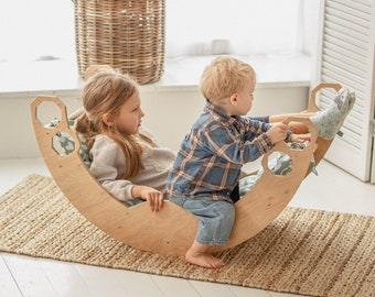Climbing Arch with Pillow and Ramp, Montessori Furniture, Arch Rocker Pillow, Toddler Christmas gift, Nursery Playmat, Wooden Baby Gym
