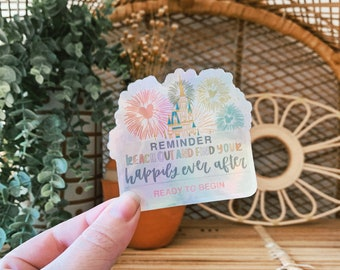 Magic Kingom Holographic Sticker // Disney Waterproof Sticker // Happily Ever After Decal // Fireworks Sticker // Holographic Decal