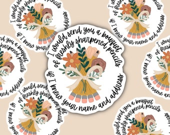 You've Got Mail Sticker // Bouquet of Sharpened Pencils Sticker // Rom Com Sticker // Romantic Comedy Sticker // Laptop Sticker