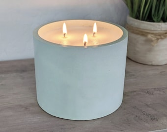 Extra Large 100% Soy 3 Wick Concrete Candle, Light Green Round Cement Candle, Big Decorative Candles