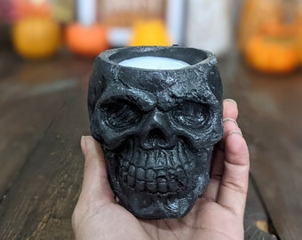 Concrete Candle, Soy Skull Candle, Decorative Candles for Halloween, Fall Candle for Autumn
