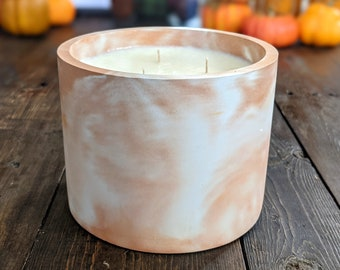Extra Large 100% Soy 3 Wick Concrete Candle, Autumn Candle for Fall Table Decor, Big Luxury Decorative Candles