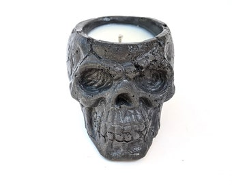 Halloween Candle made with 100% Soy Wax, Skeleton Concrete Candle, Skull Candle for Wiccan Decor or Spooky Season