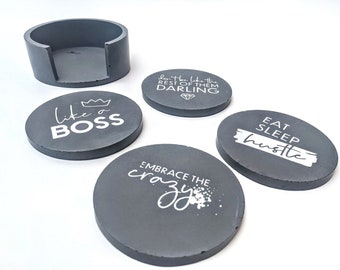 Black Concrete Coasters with Holder, Cute Cement Modern Coasters, Funny Drink Coasters with Cork Bottom