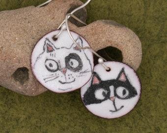 Feline Good Times - vitreous enamel on copper; unique, hand-painted earrings