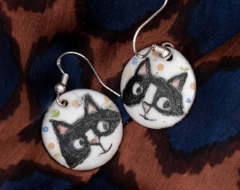 Spot the Differences earrings - vitreous enamel on copper; unique, hand-painted earrings
