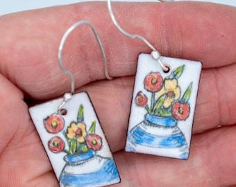 Still life with Flowers earrings - vitreous enamel on copper; unique, hand-painted earrings