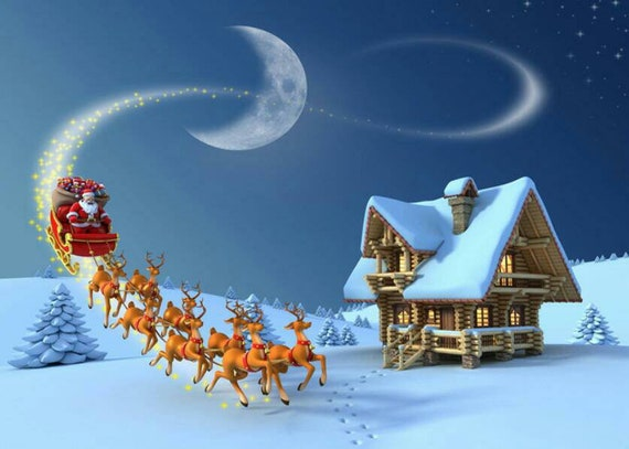 Merry Christmas Photography Backdrops Santa Sleigh Photo Background Pines Snow Landscape Moon Window Paper Happy Holidays Photo Backdrop