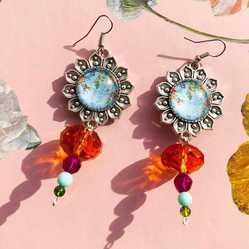 Silver Plated Multi-color Beaded Boho Hippie Jewelry Boho Flower Cabochon Dangle Drop Bold Statement Earrings