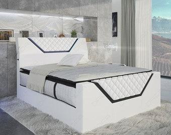 Designer box spring bed NANTES with LED lighting