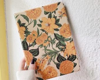 """Vintage yellow flower floral iPad case with pencil holder for iPad9.7""""/10.2""""/10.5""""/11in,iPad Air,iPad mini5,iPad Pro,iPad 2020/2019/2018"""