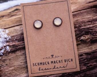Earrings golden faux leather, copper colors 10 mm glass cabochon, earring faux leather golden earrings earrings earrings