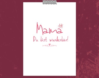 Postcard, Greeting Card, Gift Card, Mother's Day Mom You're Wonderful