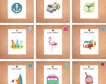 Postcard, Greeting Card, Gift Card, Love Greetings, Anchor, VW Bus, Surfboards, Cocktail, Flamingo, Anchor
