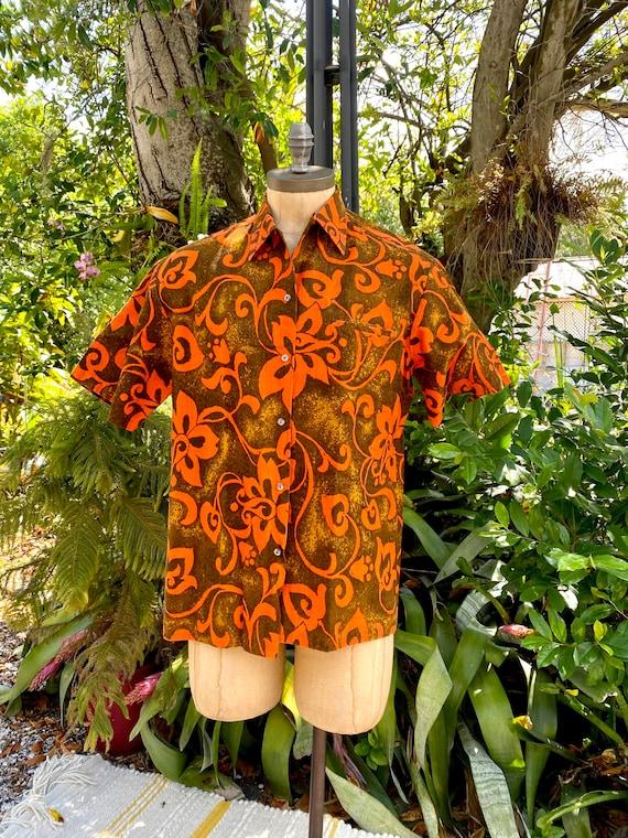 1950s Vintage Bark Cloth Hawaiian Shirt McInerny I
