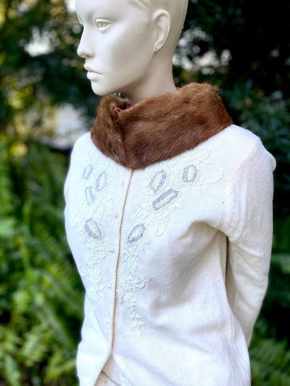 Mink Collar 1950s Vintage Classic Satin Lined Hand Made