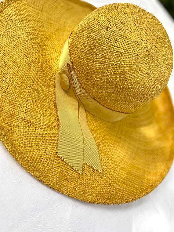 Rare Made in Switzerland Vintage Yellow Wide Brim… - image 2
