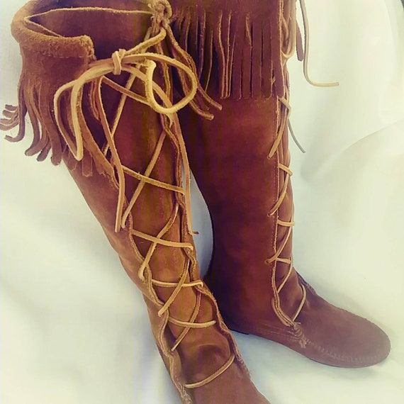 Womens Embroidery Mid Calf Knee High Boots Tassels Fringe Hidden Wedge Moccasins