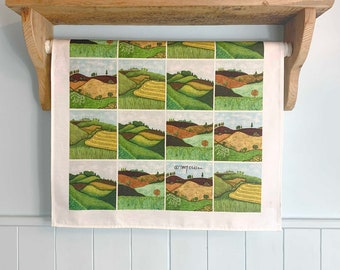 Sussex Downs Cotton Art Tea Towel, colourful countryside, kitchen gift, housewarming gift