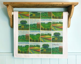 Rolling Hills Cotton Art Tea Towel, colourful English countryside, kitchen gift, house warming gift, gift for good cook