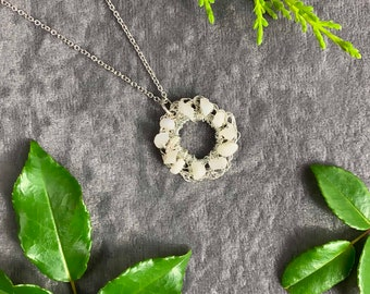 Sterling Silver necklace with ethically sourced Moonstone nuggets, hand crochet hand made