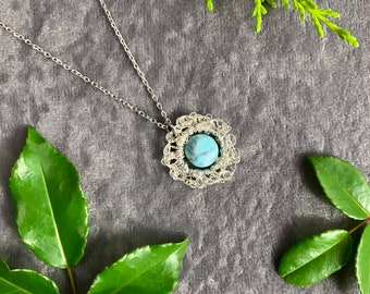Sterling silver necklace with ethically sourced Howlite gemstone, hand crochet