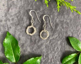 Sterling Silver earrings, textured circle drop earrings, hand crochet, artist made