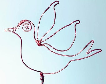 Handmade Plant Support - Twisted & Hammered Copper - Wings of a Dove Indoor/outdoor Garden - Art Sculpture