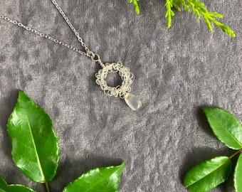 Sterling Silver necklace with Moonstone drop, ethically sourced gems, hand crochet