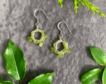 Sterling silver earrings with ethically sourced Peridot & Japanese Glass beads, hand crochet circle drop earrings