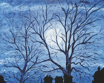 Mid Winter Evening Hyde Park, London - Limited Edition Fine Art Print of London Skyline Silhouette of Trees, Rooftops and Full Moon