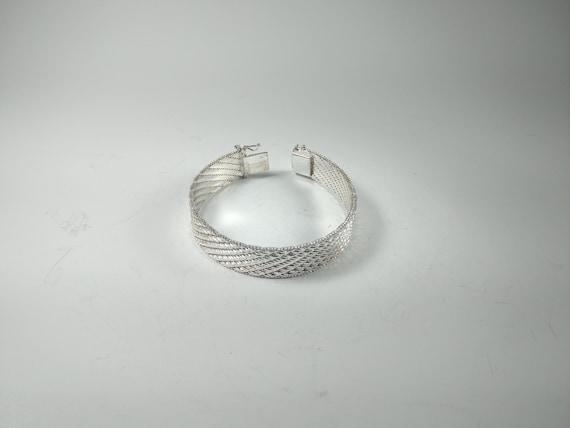 Italian Sterling Silver Woven Bracelet - image 4