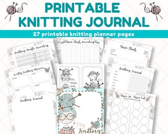 Printable Knitting Journal. DIGITAL DOWNLOAD. Use these printable knitting planner pages to create your own knitting journal Knitting binder