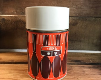 Hot or Cold PositiveNegative Forks and Spoons Avocado and Burnt Orange Wide-mouth Thermoses Pair of 1971 King-Seeley Thermos Co