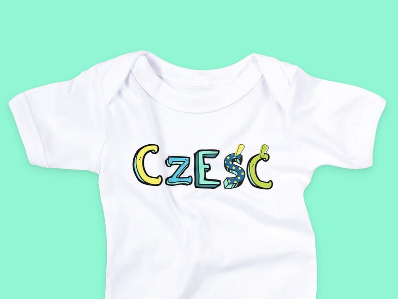 Poland baby clothes Czesc Baby Bodysuit Polish pregnancy reveal | Polska Baby Outfit Polish Baby Announcement New baby outfit