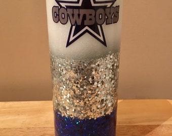 Dallas Cowboys Inspired Custom Handmade to Order Personalized Glitter Skinny Curve Tumbler