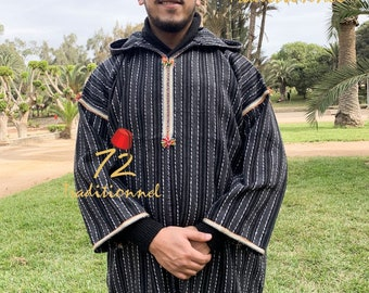 Gorgeous wool medium-weight hooded Moroccan djellaba Jacket  Wool Jacket  djellaba coat  wool coat  embroidered Jacket  hooded jacket.