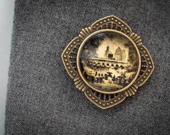 Deco Photo Art Brooch, Bryant Park in Snow, NYC, Gold and White Gold Handmade Jewelry, Dan Burkholder Artisan Women's Pin