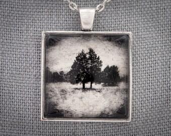 Serene Photo Art Necklace, Evergreen Trees in Snow, Gold Leaf & White Gold Handmade Jewelry, Dan Burkholder, Artisan Pendant, Unique Gift