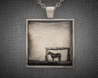Captivating Photo Art Necklace, Horse in Prairie Shelter, Texas, Gold Leaf & White Gold Handmade Jewelry, Dan Burkholder, Artisan Pendant