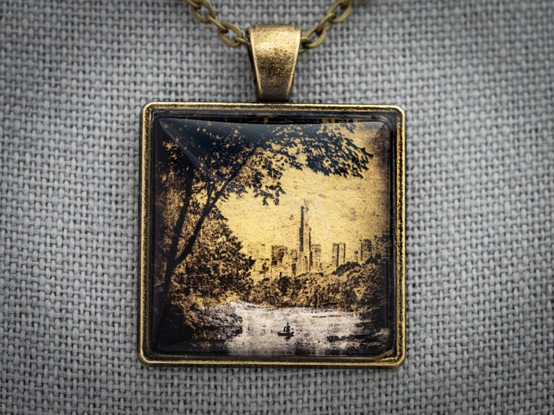 Central Park Lake Art Necklace From the NYC Collector's image 0
