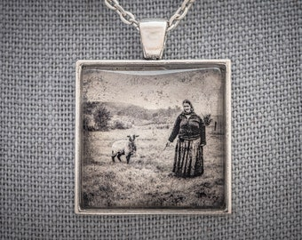 Charming Photo Art Necklace, Roma Woman with Sheep, Romania, White Gold Handmade Jewelry, Dan Burkholder Artisan Pendant, Unique