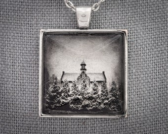 Historic Photo Art Necklace, Rowena School, Palenville, Gold Leaf & White Gold Handmade Jewelry, Dan Burkholder, Artisan Pendant, Unique